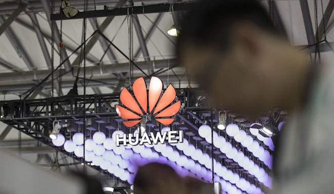 Huawei's booth at an industry show in Shanghai in June. Photo: Bloomberg