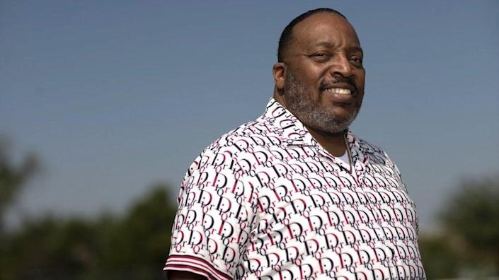 """Marvin Sapp, pastor of The Chosen Vessel Cathedral, poses for a portrait in Fort Worth, Texas on Oct. 6, 2020 to promote his 12th album """"Chosen Vessel."""" (Photo by Michael Mulvey/Invision/AP)"""