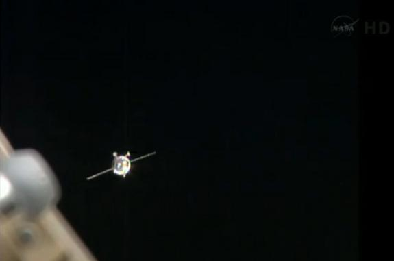 The Russian Progress 51 nears the International Space Station after a glitch involving a navigational antenna. Image released April 26, 2013.