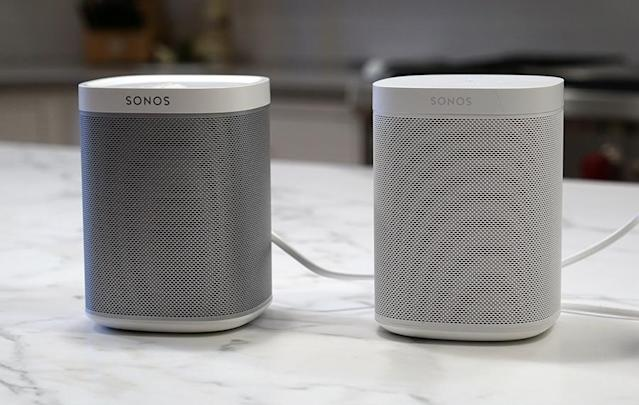 The older Sonos Play:One (left) and the new Sonos Play are suddenly voice-controllable.