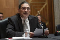 Census Bureau Director nominee Robert Santos, testifies before the Senate Homeland Security and Governmental Affairs committee, Thursday, July 15, 2021, on Capitol Hill in Washington. If confirmed, Robert Santos, a third-generation Mexican American, would be the first person of color to be a permanent head of the nation's largest statistical agency. AP Photo/Jacquelyn Martin)
