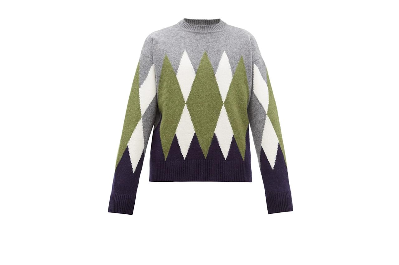 "$360, Matches Fashion. <a href=""https://www.matchesfashion.com/products/AMI-Argyle-wool-sweater-1295671"">Get it now!</a>"