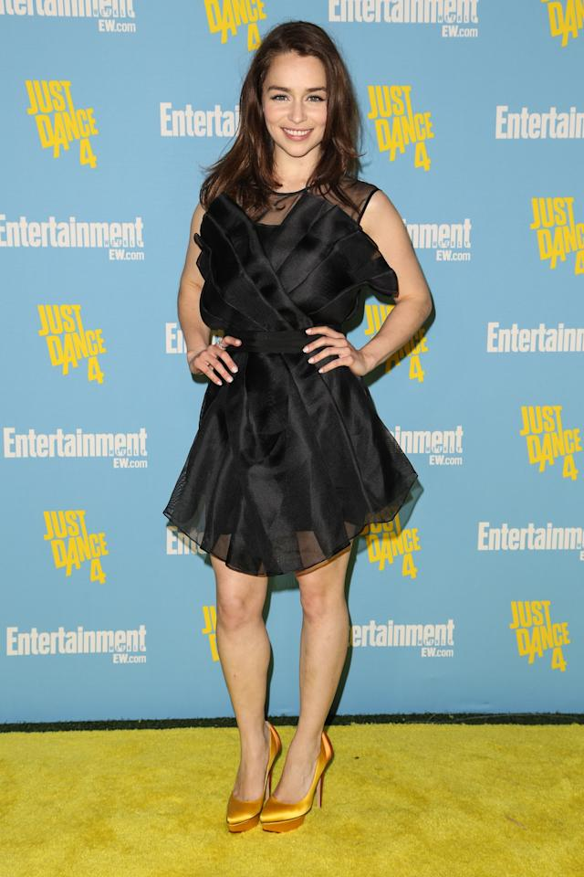 <p>Emilia Clarke arrives at Entertainment Weekly's Comic-Con celebration at Float at Hard Rock Hotel San Diego on July 14, 2012 in San Diego, California.</p>