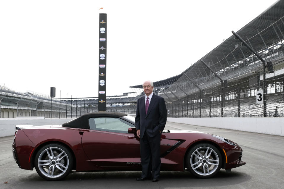 Penske Corporation Chairman Roger Penske poses for a photo on the front straight away of the Indianapolis Motor Speedway following a news conference in Indianapolis Monday, Nov. 4, 2019. Indianapolis Motor Speedway and the IndyCar Series were sold to Penske Entertainment Corp. in a stunning move Monday that relinquishes control of the iconic speedway from the Hulman family after 74 years. (AP Photo/AJ Mast)