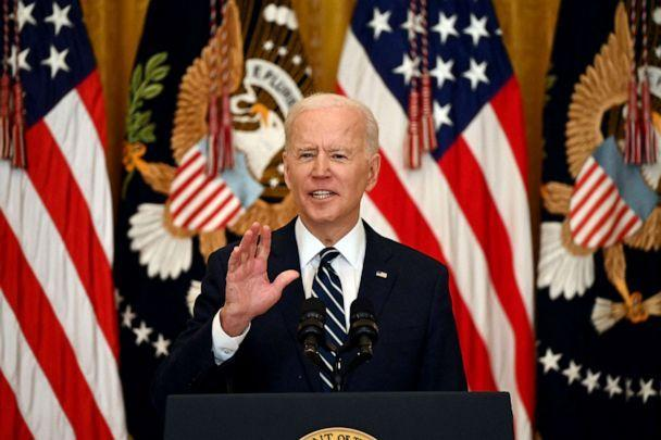 PHOTO: President Joe Biden answers a question during his first press briefing in the East Room of the White House , March 25, 2021.  (Jim Watson/AFP via Getty Images)