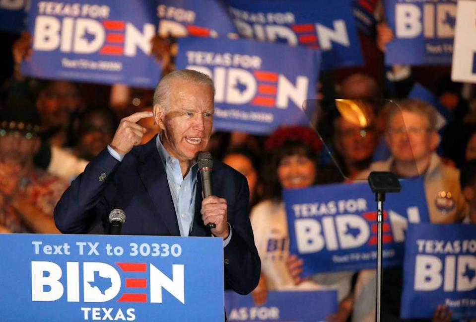 Former VP speaks during a campaign event in Dallas, Texas, on 2 March (Getty Images)