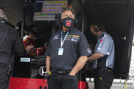 Car owner Michael Andretti watches from the pit area during practice for the Indianapolis 500 auto race at Indianapolis Motor Speedway in Indianapolis, Tuesday, May 18, 2021. (AP Photo/Michael Conroy)