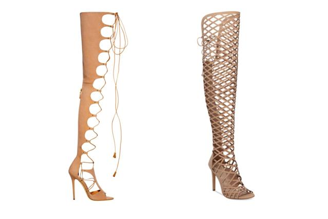 "<p>Brian Atwood for Victoria's Secret ""162"" gladiator lace-up heels, left, and Vince Camuto over-the-knee caged sandals, <a href=""https://www.macys.com/shop/product/vince-camuto-keliana-over-the-knee-caged-sandals"" rel=""nofollow noopener"" target=""_blank"" data-ylk=""slk:$199 Macy's"" class=""link rapid-noclick-resp"">$199 Macy's</a> (Photo: Victoria's Secret/Macy's) </p>"