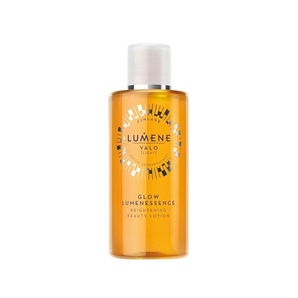 """<p>Lumene Glow Lumenessence Brightening Beauty Lotion contains only the best ingredients to get you glowy skin. Yes, it has <a href=""""https://www.allure.com/story/vitamin-c-benefits-for-skin?mbid=synd_yahoo_rss"""" rel=""""nofollow noopener"""" target=""""_blank"""" data-ylk=""""slk:vitamin C"""" class=""""link rapid-noclick-resp"""">vitamin C</a>, but it also has wild arctic cloudberry, which helps fight off oxidative damage and strengthen your skin's natural defense barrier.</p> <p><strong>$15</strong> (<a href=""""https://shop-links.co/1697702237410002063"""" rel=""""nofollow noopener"""" target=""""_blank"""" data-ylk=""""slk:Shop Now"""" class=""""link rapid-noclick-resp"""">Shop Now</a>)</p>"""
