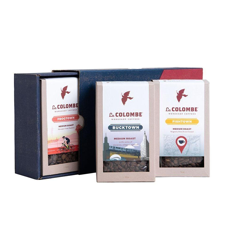 """<p><strong>La Colombe</strong></p><p>lacolombe.com</p><p><strong>$42.00</strong></p><p><a href=""""https://go.redirectingat.com?id=74968X1596630&url=https%3A%2F%2Fwww.lacolombe.com%2Fproducts%2Flocal-roaster-gift-box&sref=https%3A%2F%2Fwww.bestproducts.com%2Feats%2Ffood%2Fg2079%2Ftasty-food-gifts-for-foodies%2F"""" rel=""""nofollow noopener"""" target=""""_blank"""" data-ylk=""""slk:Shop Now"""" class=""""link rapid-noclick-resp"""">Shop Now</a></p><p>Take the coffee lover in your life on a sensory tour with this Local Roasters Gift Box from La Colombe. This three-pack includes small-batch blends from Philadelphia, Chicago, and Los Angeles — each blend pays homage to the neighborhood where they were roasted.</p>"""