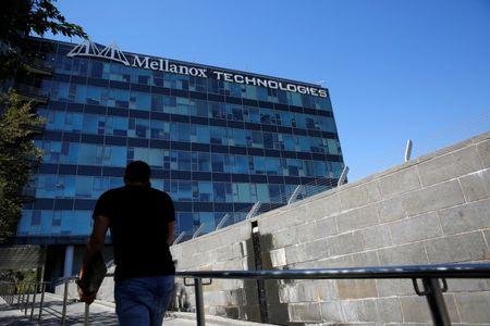 The logo of Mellanox Technologies is seen at the company's headquarters in Yokneam, in northern Israel