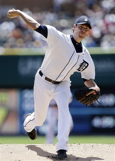 Detroit Tigers pitcher Doug Fister throws against the Los Angeles Angels in the first inning of a baseball game in Detroit, Thursday, June 27, 2013. (AP Photo/Paul Sancya)