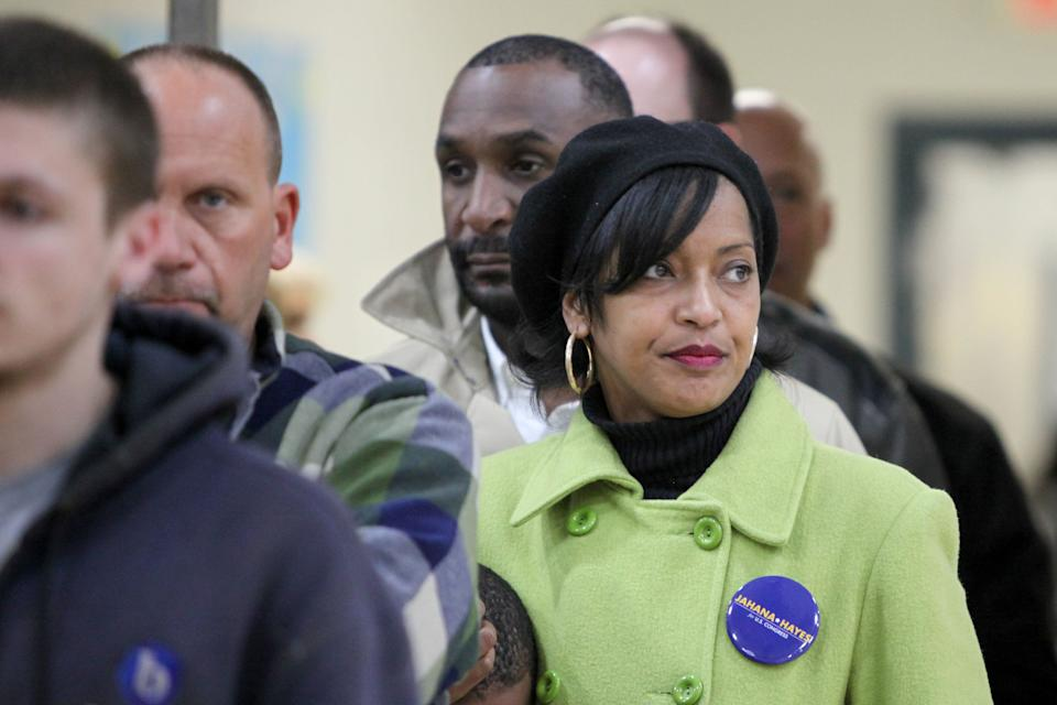Then-congressional candidate Jahana Hayes waits in line to vote during the midterm election in Wolcott, Connecticut, on Nov. 6, 2018. (Photo: Michelle McLoughlin/Reuters)