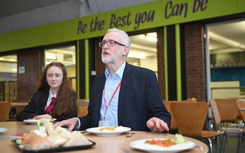 Labour leader Jeremy Corbyn joins students and teachers at Bilton High School in Rugby on the election campaign trail - PA