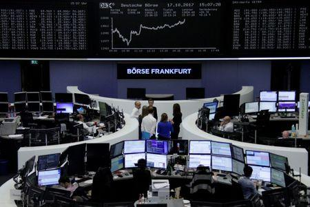 The German share price index, DAX board, is seen at the stock exchange in Frankfurt, Germany, October 17, 2017.    REUTERS/Staff/Remote