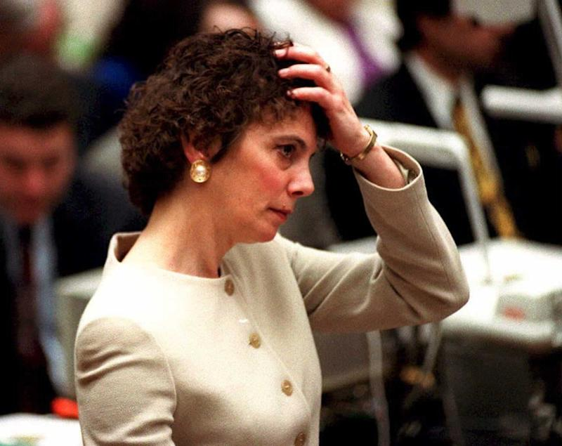 "Marcia Clark questioning Brian ""Kato"" Kaelin during the O.J. Simpson murder trial. At the time, viewers paid more attention to her short permed hair than her questioning style."