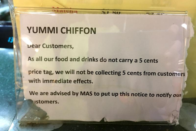 A sign placed by Yummi Chiffon, a coffee and cake shop at Tanjong Pagar Xchange, indicating to customers that it does not accept 5-cent payments.