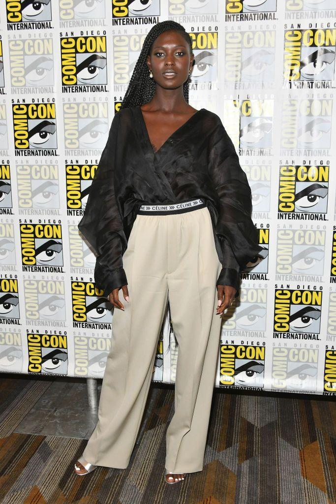 <p>Turner-Smith wore Celine for the Comic Con event. </p>