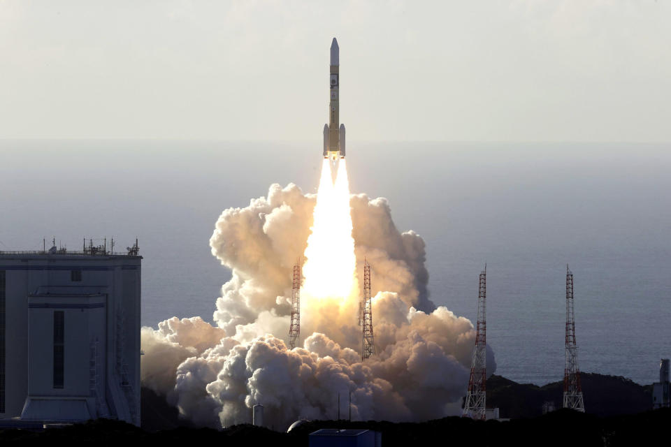 An H-IIA rocket with United Arab Emirates' Mars orbiter Hope lifts off from Tanegashima Space Center in Kagoshima, southern Japan Monday, July 20, 2020. A United Arab Emirates spacecraft rocketed away Monday on a seven-month journey to Mars, kicking off the Arab world's first interplanetary mission. (Hiroki Yamauchi/Kyodo News via AP)