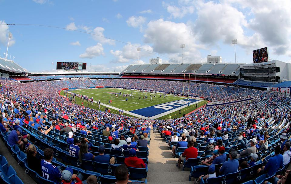 A general view of Highmark Stadium during Buffalo Bills training camp on July 31, 2021 in Orchard Park, New York. Roger Goodell believes that a new stadium is necessary to keep the Bills in western New York.