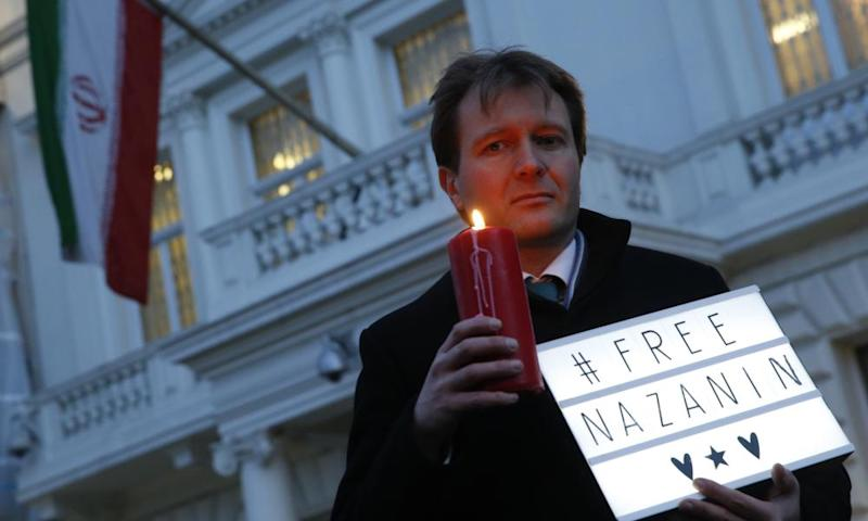Richard Ratcliffe during an Amnesty International-led vigil outside the Iranian Embassy in London, January 2017.