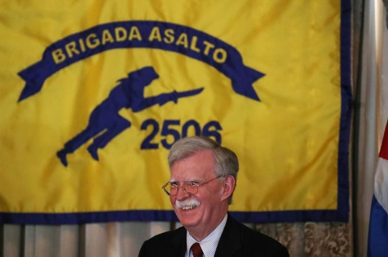 John Bolton, then the national security advisor, in April 2019 addresses veterans of the failed CIA-backed Bay of Pigs invasion of Cuba