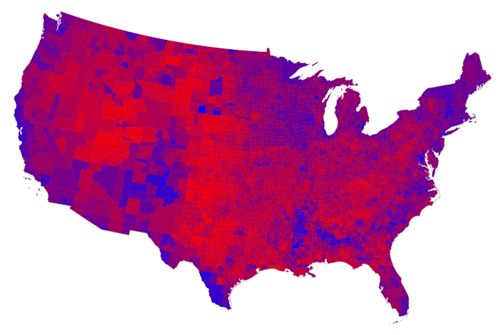 The county results in red, blue and shades of purple indicate percentages of votes and show the mix of voters.