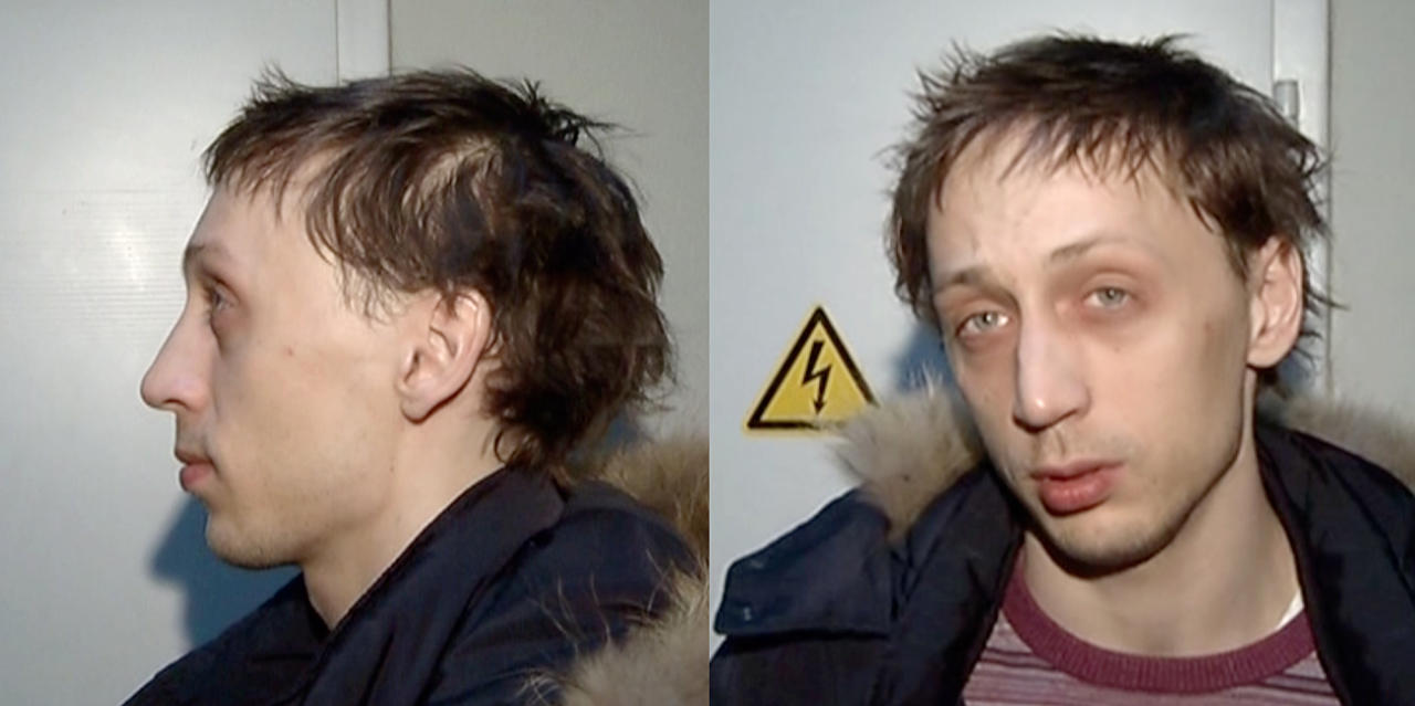 "In this combo frame grab taken from video supplied by the Moscow Interior MInistry branch website on Wednesday, March 6, 2013, 29-year-old Pavel Dmitrichenko, the star Russian ballet dancer is seen in Moscow. Dmitrichenko, who most recently played the title role in ""Ivan the Terrible"" at the famed Bolshoi Theater has confessed to the acid attack on the theater's ballet chief, Moscow police said on Wednesday. (AP Photo/ Moscow Interior MInistry branch website)"