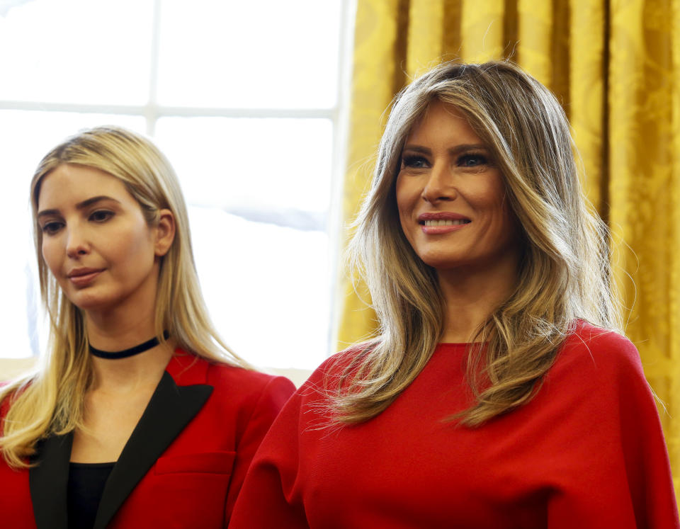 First Lady Melania Trump (R), and first daughter Ivanka Trump (L) look while U.S. President Donald Trump speaks before signing the H.R. 321 and H.R. 255 executive orders, to increase women's participation in STEM fields through programs at NASA and the National Science Foundation, in the Ovale Office of the White House, Washington, DC, February 28, 2017. *** Please Use Credit from Credit Field ***