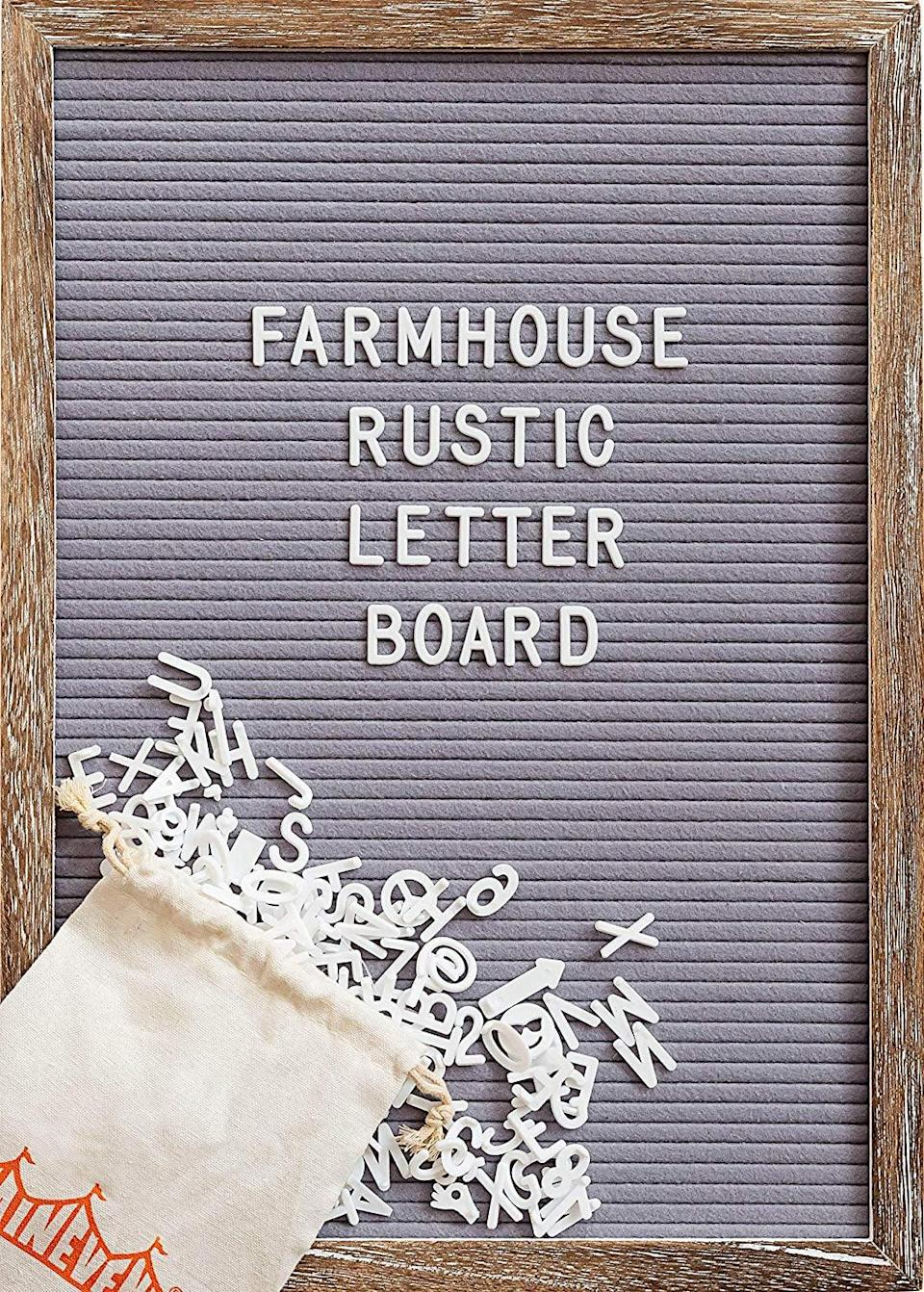 <p>This <span>Felt Letter Board with Rustic Wood Frame, Script Words and Precut Letters</span> ($29) is a cute way to add personality to a home.</p>