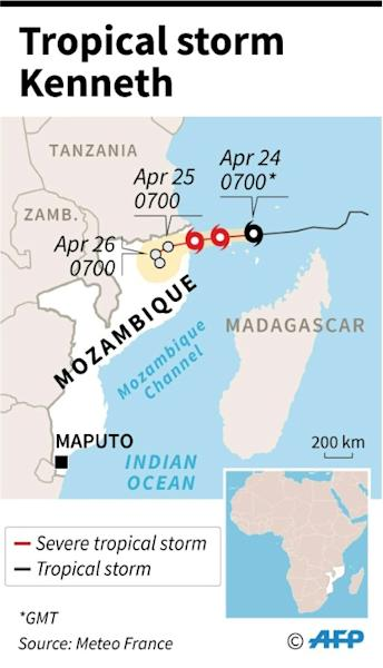 Map showing the path of tropical storm Kenneth which threatens Mozambique just weeks after it was ravaged by cyclone Idai