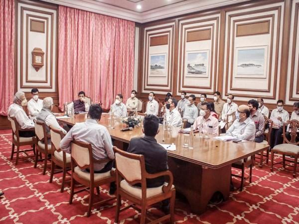 A visual from the meeting of the Maharashtra Cabinet subcommittee on Maratha reservation.