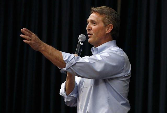Arizona Republican Sen. Jeff Flake takes a question from the audience during a town hall in April in Mesa, Ariz. (Photo: Ross D. Franklin/AP)