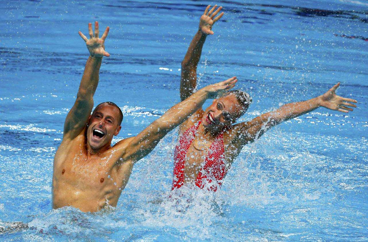 Jones and May of the U.S. perform in the synchronised swimming mixed duet technical final at the Aquatics World Championships in KazanFrom Vegas to Kazan