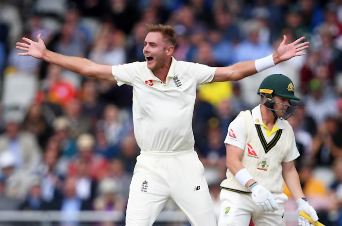 Broad appeals successfully for the wicket of Harris (Photo by Alex Davidson/Getty Images)