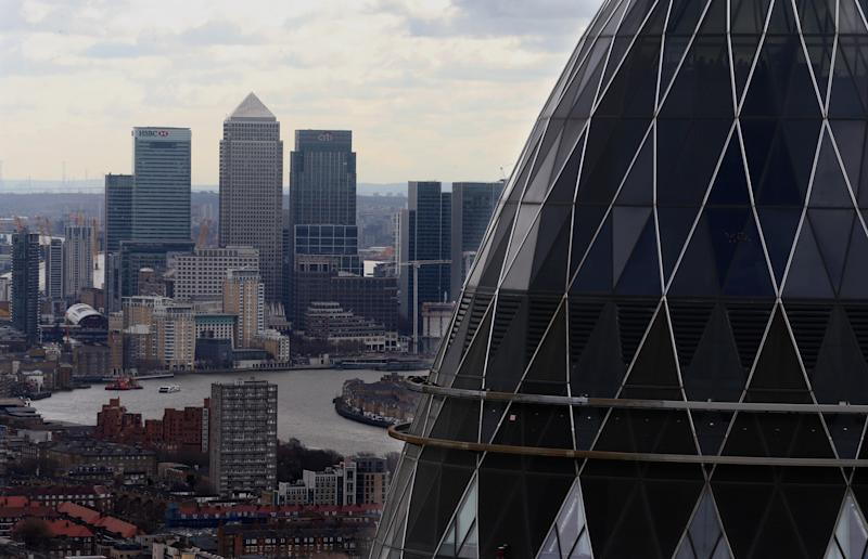 EMBARGOED TO 0001 MONDAY NOVEMBER 18 File photo dated 9/3/2017 of the London skyline as seen from Tower 42 with the 'Gherkin' (foreground), 30 St Mary Axe and Canary Wharf (background) prominent. British investors are seeing lacklustre dividend growth and have been forced to rely on one-off special payments from the FTSE???s bankers and miners to boost their returns this quarter.