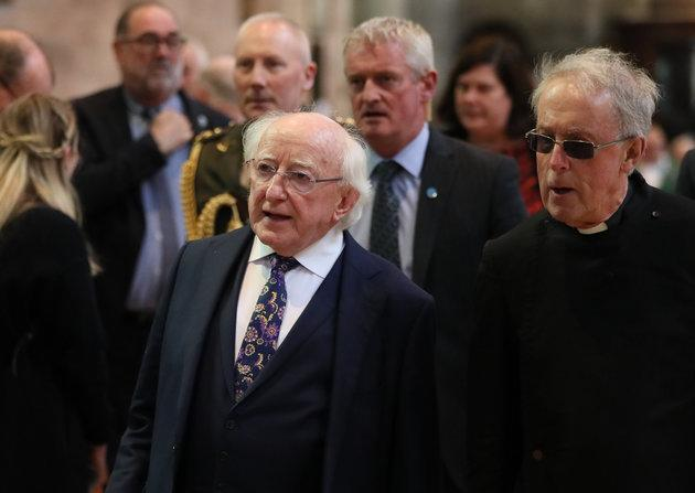 Irish President Michael D Higgins before the funeral service