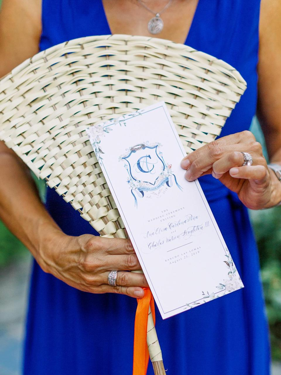 <p>Cami also handled the couple's ceremony programs (which were emblazoned with their crest), which outlined the traditional Christian ceremony.</p>