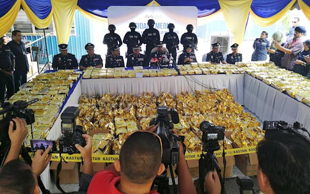The Royal Malaysian Customs Department displays 1,187 kg of seized methamphetamine worth $17.8 million in Nilai, Malaysia, on May 28, 2018. (Photo: Angie Teo/Reuters)