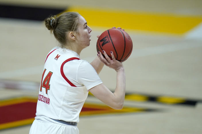 Maryland guard Taisiya Kozlova shoots against Minnesota during the second half of an NCAA college basketball game, Saturday, Feb. 20, 2021, in College Park, Md. (AP Photo/Julio Cortez)