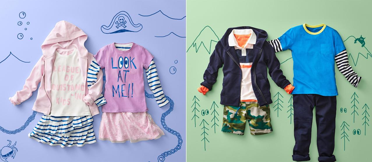 LOOK by crewcuts Girls 2-Pack Graphic//Solid Short Sleeve T-Shirt Crew Brand // J