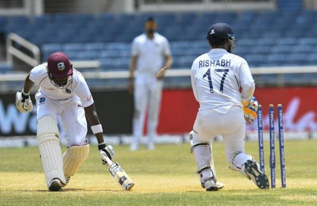 Sharmarh Brooks was top scorer for West Indies but was run out just after reaching 50 (AFP Photo/Randy Brooks)