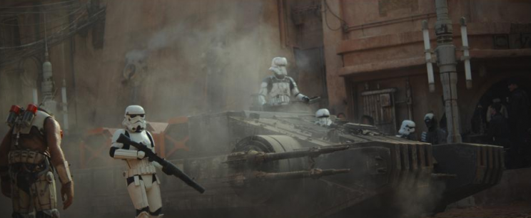Rogue One Star Wars Stormtroopers patrolling the dust-covered planet of Jedha in Rogue One (Lucasfilm/Disney)