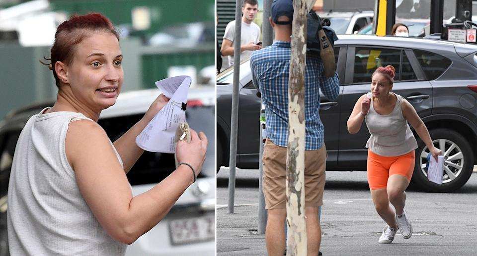 Crystal Marie Sawyer is seen after leaving the Brisbane Watchhouse in Brisbane.