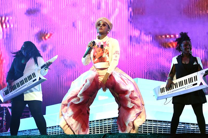 Janelle Monáe performs on Coachella Stage during the 2019 Coachella Valley Music And Arts Festival on April 12, 2019 in Indio, California. Photo courtesy of Getty Images.