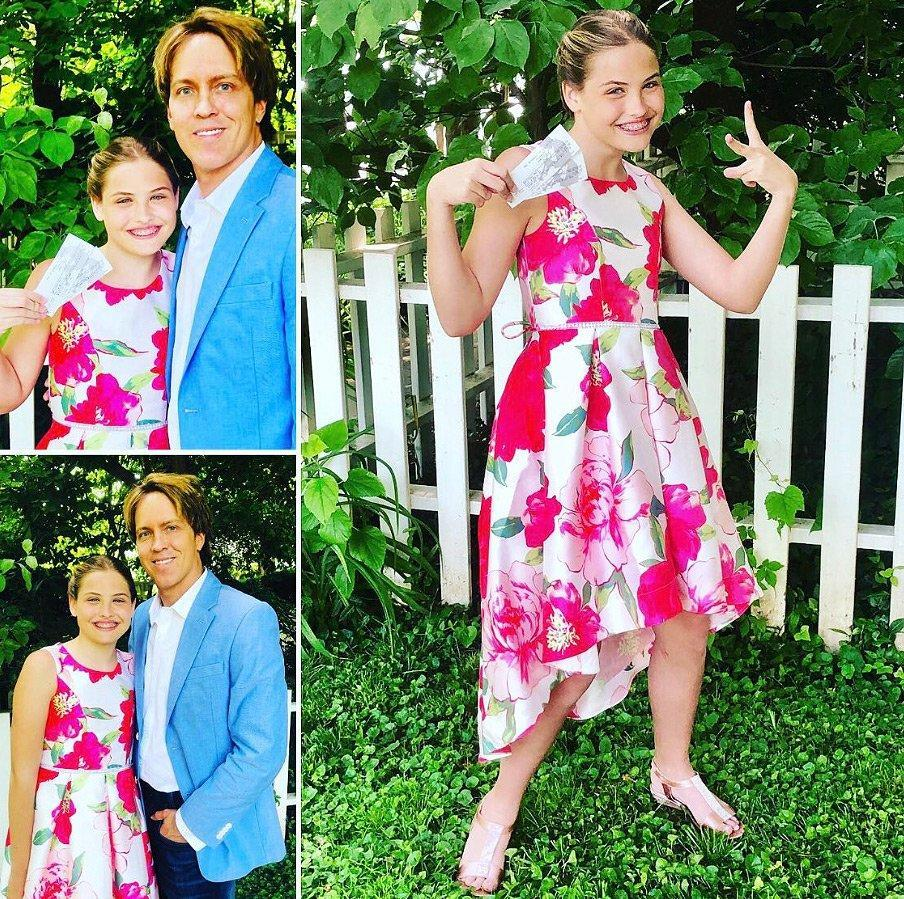 """The father of the year award goes to Larry Birkhead for surprising his daughter with<em> Hamilton</em> tickets as her seventh grade graduation gift! The proud papa, who shares Dannielynn with the late Anna Nicole Smith, <a href=""""https://twitter.com/larrybirkhead/status/1136037194706165761"""" rel=""""nofollow noopener"""" target=""""_blank"""" data-ylk=""""slk:tweeted"""" class=""""link rapid-noclick-resp"""">tweeted</a> out the news, along with three photos of the excited graduate posing with her tickets, and added, """"I think she is happy!"""""""