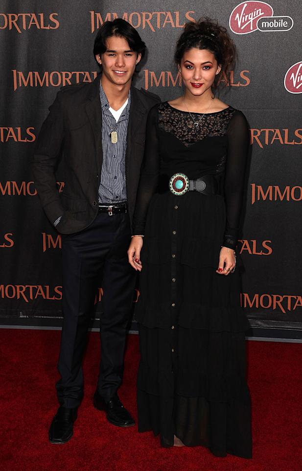 "BooBoo Stewart and Fivel Stewart at the Los Angeles premiere of <a href=""http://movies.yahoo.com/movie/1810150710/info"">Immortals</a> on November 7, 2011."