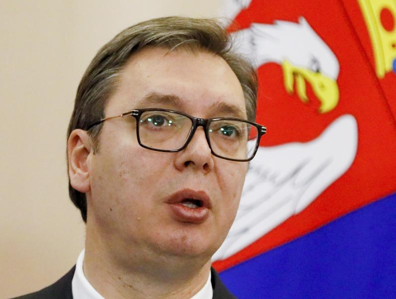 Serbian President Aleksandar Vucic speaks during a joint news conference with Russian President Vladimir Putin following their talks in the Bocharov Ruchei residence in the Black Sea resort of in Sochi, Russia, Wednesday, Dec. 4, 2019. Putin and Vucic talked about Russian natural gas supplies, military cooperation and other issues during their meeting. (Shamil Zhumatov, Pool Photo via AP)