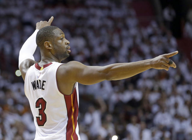 "<a class=""link rapid-noclick-resp"" href=""/nba/players/3708/"" data-ylk=""slk:Dwyane Wade"">Dwyane Wade</a> will wear a Heat uniform again someday. Whether he plays in Miami again is another question. (AP)"