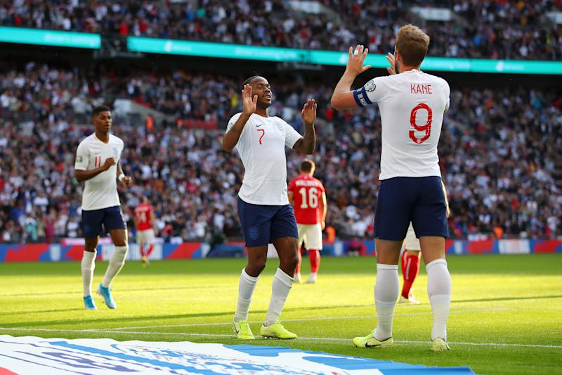 LONDON, ENGLAND - SEPTEMBER 07: Raheem Sterling of England celebrates after scoring his team's third goal with Harry Kane of England during the UEFA Euro 2020 qualifier match between England and Bulgaria at Wembley Stadium on September 07, 2019 in London, England. (Photo by Richard Heathcote/Getty Images)